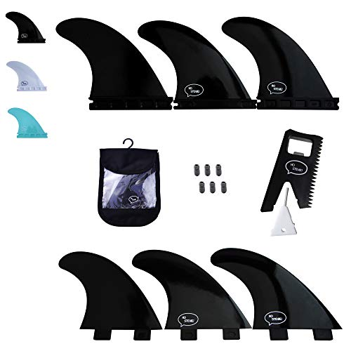 Ho Stevie! Fiberglass Reinforced Polymer Surfboard Fins - Thruster (3 Fins) FCS or Futures Sizes, Choose Color (Black, FCS)