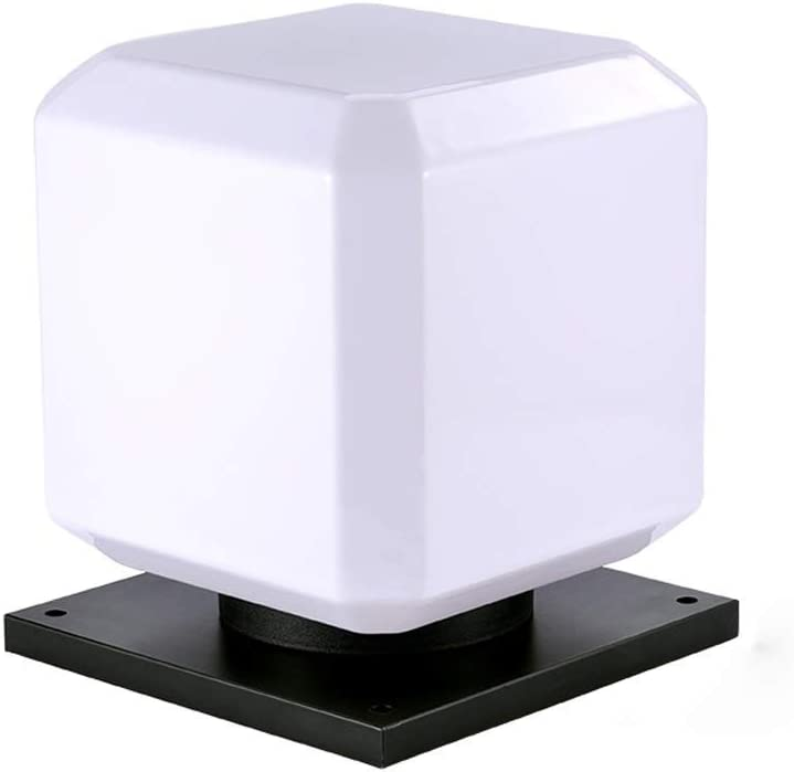 Berlato Modern Cube Column Lamps Energy Post Pillar Light Outdoor Street Garden Light Square Waterproof Rainproof Gate Lamp Edison Outside Patio Table Lamp Lantern (No Solar Function,25cm)