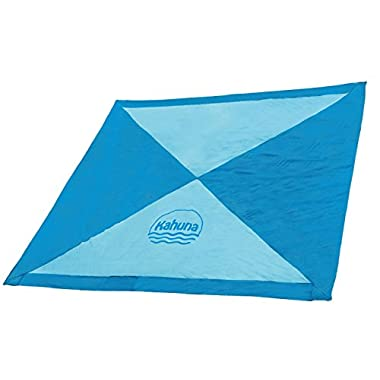 KAHUNA 'Next Generation' Parachute Beach Blanket - XL Extra Large 8 x 8 Feet - The Biggest Sand Proof Beach Sheet / Picnic Blanket Available - Portable, Lightweight, Quick-drying, With 12 Sand Pockets.