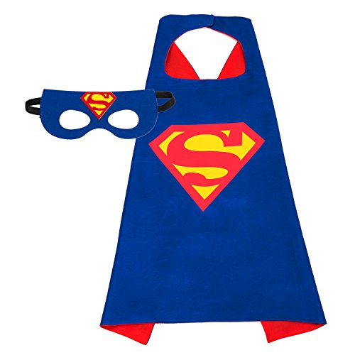 Superhero Costume, AMASKY Dress Up Costumes Set of Superhero Satin Capes with Felt Masks For Kids (1 in pack) - Superman Costume Party City