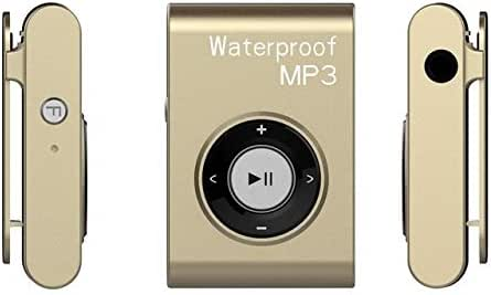 Digital Media Players IPX8 Waterproof Swimming Diving Sports MP3 Music Player with Clip & Earphone, Support FM, Memory:4GB(White) (Color : Gold)