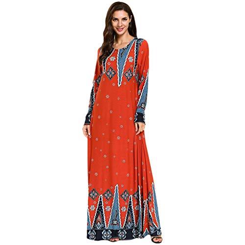 Leisuraly 2019 Hot! Muslim Dress Robe,Fashion Womens Print Sleek Temperament Slim National Wind Noble Loose Long Dresses