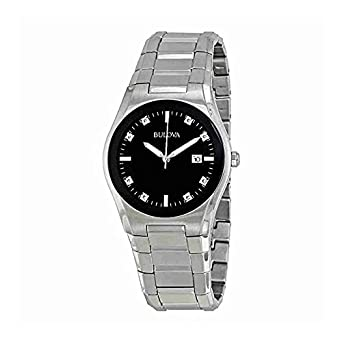 amazon com bulova men s 96d104 black dial 8 diamonds bracelet bulova men s 96d104 black dial 8 diamonds bracelet watch