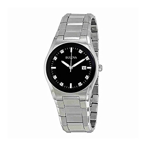 Black Diamond Dial Watch (Bulova Men's 96D104 Black Dial 8 Diamonds Bracelet Watch)