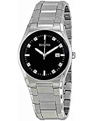 Bulova Mens 96D104 Black Dial 8 Diamonds Bracelet Watch