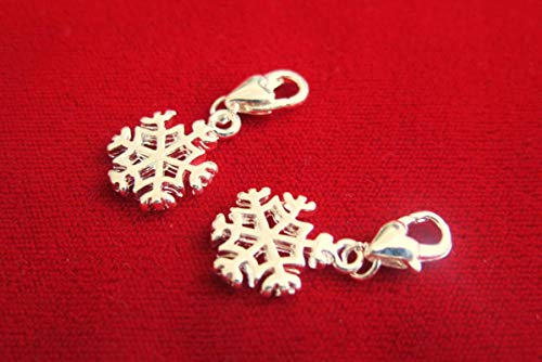 Lot of 10pc Christmas Snowflake Clip-on Jewerly Making Charms Supplies DIY for Necklace Bracelet and Crafting by CharmingSS ()