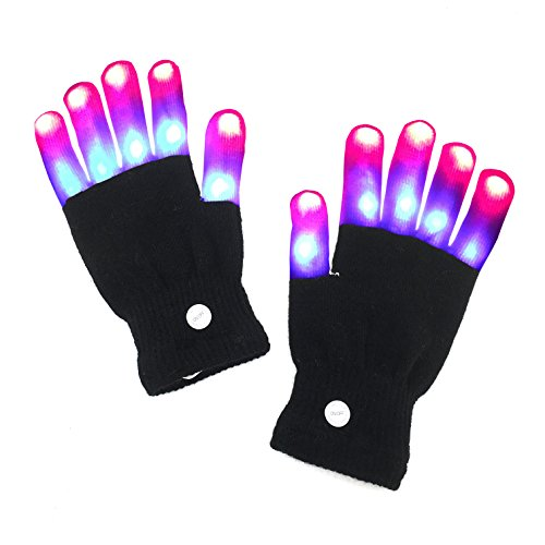 LED Gloves, Latom Finger Light Gloves Flashing LED Rave Gloves With 6 Flashing Modes for Party, Best Idea Christmas Gift - Ideas For Christmas Costumes