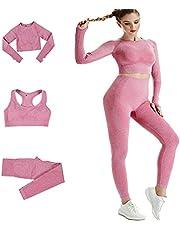 DONYKARRY Dames 3 stuks Naadloze Outfits Workout Sets, Gym Running Yoga Sportkleding 3 Stuks Trainingspak Leggings en Stretch Sport BH Gym Jumpsuit Kleding Set