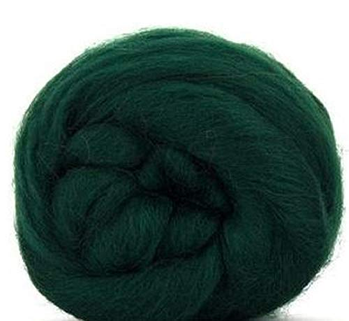 4 oz Paradise Fibers Conifer (Green) Corriedale Top Spinning Fiber Luxuriously Soft Wool Top Roving for Spinning with Spindle or Wheel, Felting, Blending and Weaving ()