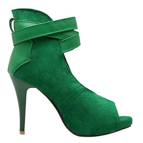 COOLCEPT Mujer Moda Al Tobillo Court Zapatos Peep Toe Bombas Zapatos Tacon Aguja Zapatos Verde