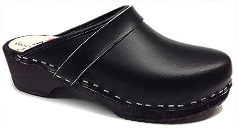 World of Clogs AM100 Black leather Swedish Unisex Wooden Clogs - Size 41 - Unisex Black Leather