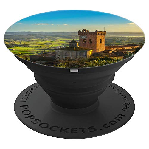 Bell Tower Cathedral Pisa Tuscany Pretty Green Mountain View - PopSockets Grip and Stand for Phones and Tablets
