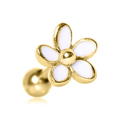 White Daisy Gold Plated Cartilage Earring (White Daisy Earrings)