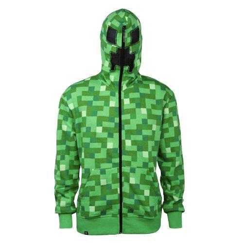 nbsp;– Minecraft Cappuccio Creeper nbsp;zip Verde Up Con F5q5SH