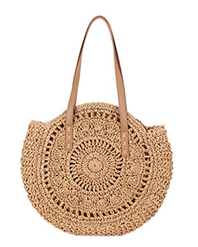 Straw Large Bag Woven Shoulder Bag Wallet Ladies Handbag Round Beach Purse Retro Handle Bag (Camel2)