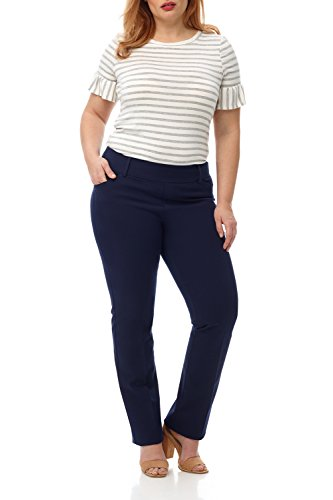 Rekucci Curvy Woman Plus Size Pull-On Bootcut Pant in 4 Way Stretch Cotton (16WSHORT,Navy)