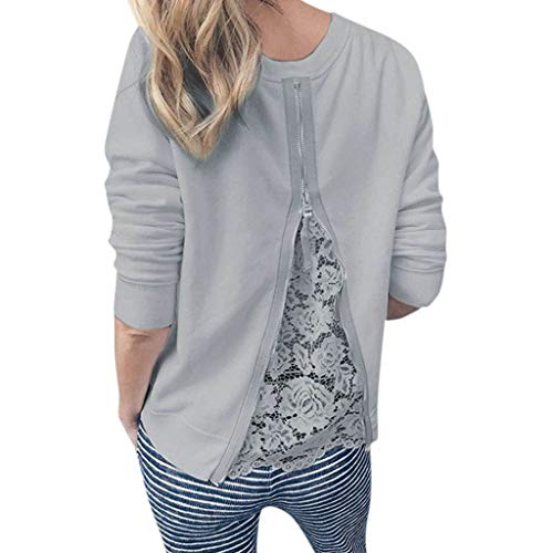 AHAYAKU Shoes for Womens O-Neck Long Sleeve Lace Patchwork Sweatshirt Blouse Top 2019 New Grey