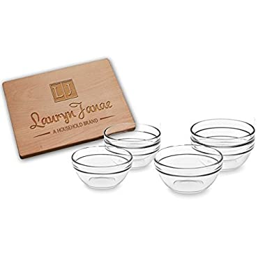 Lauryn Janae Premium Mini 3.5  inch Stackable Glass Kitchen Prep, Dipping Sauce, Dessert, Custard, Pinch, Candy Dish or Nut Bowls (Set of 6)