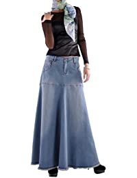 Flowing Love Long Jean Skirt