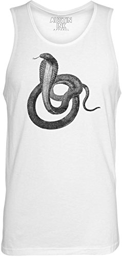 (Austin Ink Apparel Egyptian Cobra Printed Unisex Jersey Tank Top, White,)
