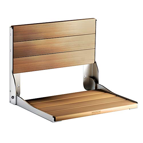 Moen DN7110 Home Care Wall Mounted Teak Wood Aluminum Folding Shower Seat, Chrome