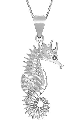 """Sterling Silver Seahorse Necklace Pendant with 18"""" Box Chain"""