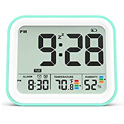KUCOOLE Small Digital Cordless Battery Operated Alarm Clock, Best Travel Alarm Clock with Indoor Thermometer and Hygrometer, Dual Smart Alarm Clock for Kids, Teens, Bedrooms, Kitchen, Office - Cyan