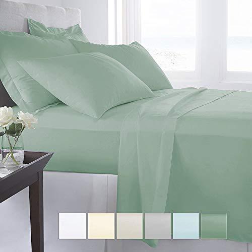 "Pizuna 400 Thread Count Cotton Queen Size Sheets Set Sage, 100% Long Staple Cotton Sheets Set, Soft Sateen Best Cotton Bed Sheets Deep Pocket fit Upto 17"" (100% Cotton Sea Foam Queen Sheet Set)"