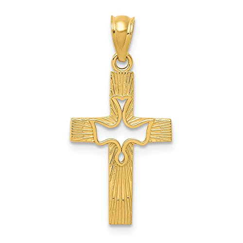 14k Yellow Gold Dove Cross Religious Pendant Charm Necklace Fine Jewelry Gifts For Women For Her