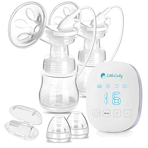 LittleLucky Portable Breast Pumps Electric Double Hospital Grade Breast Pump Hands Free USB Chargeable Battery Automatic Travel Breast Pump