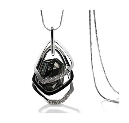 (Nataliya Triple Layer Pendant Necklace (Silver Triple Stack Pendnant))