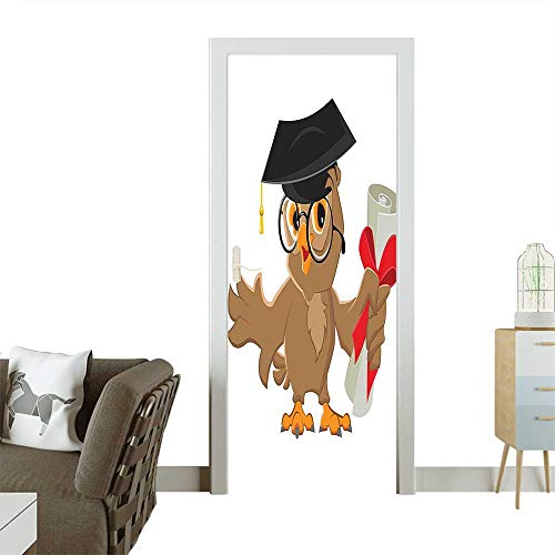 Homesonne 3D Photo Door Murals Owl with Cap and Diploma Finishing University Themed Humor Illustration Cocoa Black Easy to Clean and applyW32 x H80 INCH]()