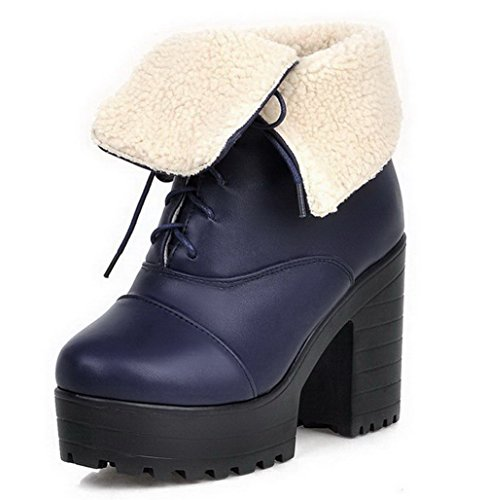 AllhqFashion Womens Soft Material Closed Round Toe Solid Low-Top High-Heels Boots Blue I8oXPsyc