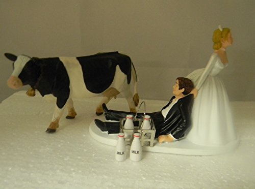 Wedding party Dairy Farmer Rancher Milk Crate Holstein Milk Cow Cake Topper (Dairy Farmers Milk)