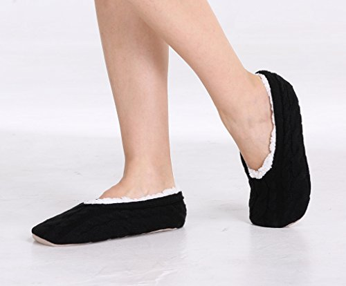 Sizes Faux Ladies For Suede On Women Lining Slippers Adults � Cable Skid Slip With Pembrook Non Sole � S Knit Great House and M Sole L Plush Shearling Black Slippers Style Girls Ballet aP4fqdw