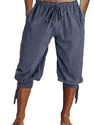 Mens Medieval Ankle Pants Viking Pirate Renaissance Costume Lace Up Tapered Banded Navigator Casual Trousers -