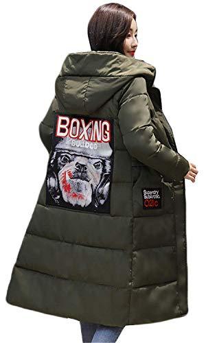 Piumini Outdoor Lunga Cappotti Manica Stampati Tempo Caldo Piumino Incappucciato Gr Moda Donna Costume Invernali Eleganti Giaccone Addensare Lunga Libero qY4RrtRWa