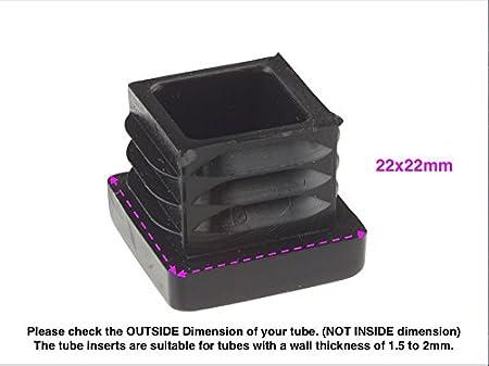 realizzati in Germania confezione da 36 quadrati e rettangolari, Tappi terminali scanalati in plastica nera