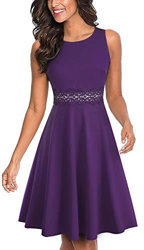 HOMEYEE Women's Sleeveless Cocktail A-Line Embroidery Party Summer Wedding Guest Dress A079(4,Purple)