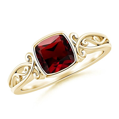 Vintage Style Cushion Garnet Solitaire Ring in 14K Yellow Gold (6mm Garnet)