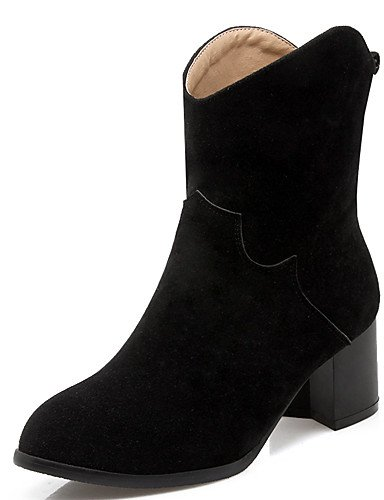 XZZ  Damen-Stiefel-Büro   Lässig   Kleid-Kunstleder-Blockabsatz-Absätze   Stifelette   Rundeschuh-Schwarz   Gelb   Grau