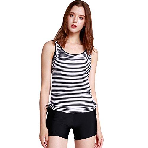 Women's Tankini Set Swim Top & Boyshort Two Pcs Swimsuit Striped US 0-2