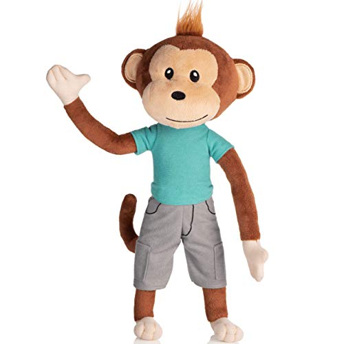 earthMonkeys Plush Toy Monkey Stuffed Animal | Cutest Stuffed Monkey Plush Ever! | Stands, Sits & Bends | Simeon The Stuffed Animal Monkey Will Become Your Kids Best Friend!
