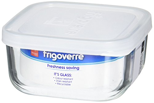 Bormioli Rocco Frigoverre Square Food Container with Frosted Lid, 8-Ounce