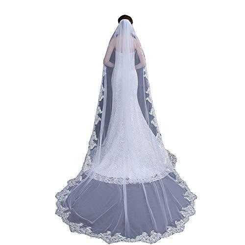 Sijux Vintage Long Veil Lace (300cm) Floor Length Cathedral Bridal Veil with Comb