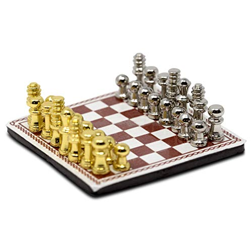 American Heritage Industries Dollhouse Chess Set- Dollhouse Miniature Chess, a Scaled 1:12 Accessory to Decorate Your Miniature World