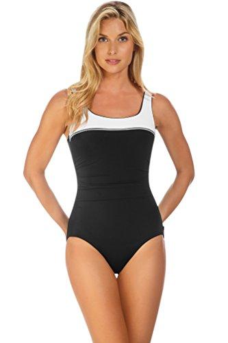 Reebok White Sugarcoat Scoop Neck One Piece Swimsuit Size 14