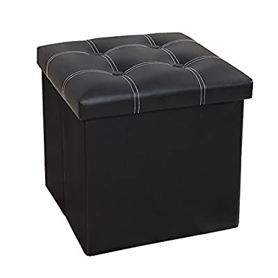 InSassy Folding Storage Faux Leather Ottoman Sitting Bed Bench Foot Rest