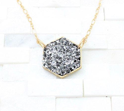 Black noir crystal Hexagon geometric gold Necklace