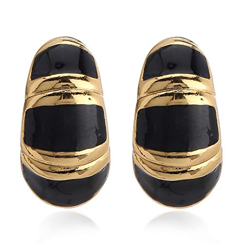 Estele 24Kt Gold Plated Fashion Black Metal Enamel Brass stud Earrings for Women